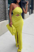 Yellow Sexy Solid Hollowed Out Backless Slit Spaghetti Strap Long Dress