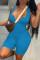 Blue Casual Solid Vests V Neck Skinny Jumpsuits