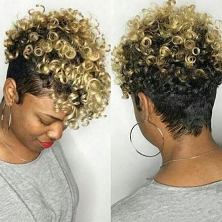Black Fashion Short Curly Hair Gold Wigs