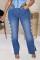 Medium Blue Fashion Casual Solid Bandage Slit Plus Size Jeans
