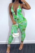 Green Sexy Print Split Joint V Neck Skinny Jumpsuits