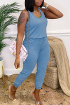 Blue Casual Solid Split Joint Frenulum U Neck Skinny Jumpsuits