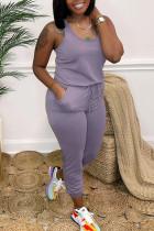 Light Purple Casual Solid Split Joint Frenulum U Neck Skinny Jumpsuits