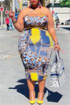Blue Yellow Fashion Sexy Plus Size Print Backless Slit Spaghetti Strap Sleeveless Dress
