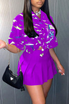 Purple Casual Print Split Joint V Neck Half Sleeve Two Pieces