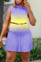 Purple Sexy Gradual Change Split Joint Half A Turtleneck Pleated Dresses (With Belt)