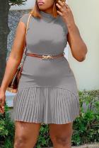 Grey Sexy Gradual Change Split Joint Half A Turtleneck Pleated Dresses (With Belt)