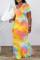 Orange Fashion Casual Tie Dye Printing O Neck Short Sleeve Dress