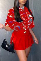 Red Casual Print Split Joint V Neck Half Sleeve Two Pieces