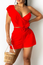 Red Casual Solid Split Joint Flounce V Neck Two Pieces