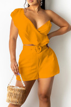 Orange Casual Solid Split Joint Flounce V Neck Two Pieces
