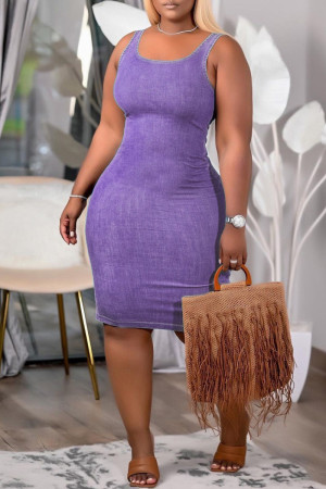Purple Sexy Casual Solid Vests U Neck Sleeveless Dress