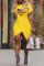 Yellow Casual Print Split Joint O Neck Irregular Dress Dresses