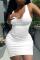 White Casual Solid Split Joint U Neck Pencil Skirt Dresses