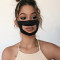 Black Fashion Patchwork Hollowed Out Mask