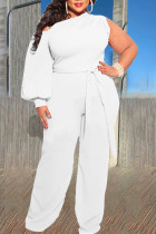 White Sexy Solid Bandage Split Joint Asymmetrical Collar Plus Size Jumpsuits