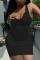Black Casual Solid Split Joint U Neck Pencil Skirt Dresses