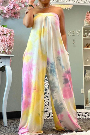Pink Casual Print Split Joint Strapless Loose Jumpsuits