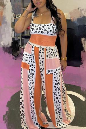 Leopard Print Street Print Split Joint Square Collar Straight Jumpsuits