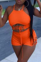 Orange Fashion Sexy Solid Strap Design O Neck Sleeveless Two Pieces