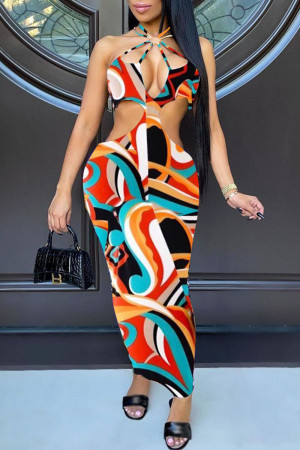 Multi-color Sexy Print Hollowed Out Backless Halter Sheath Dresses