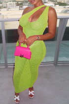 Light Green Fashion Sexy Solid Hollowed Out See-through One Shoulder Sleeveless Dress