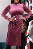 Red Sexy Solid Slit Half A Turtleneck Irregular Dress Plus Size Dresses