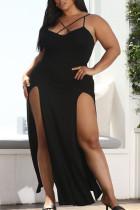 Black Fashion Sexy Plus Size Solid Backless Slit Spaghetti Strap Long Dress