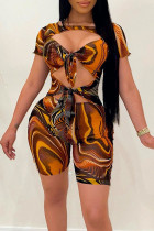 Multicolor Sexy Print Bandage Hollowed Out Split Joint Knotted O Neck Skinny Jumpsuits