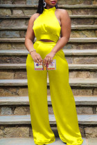 Yellow Elegant Solid Bandage Split Joint Halter Sleeveless Two Pieces