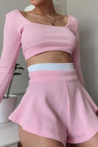 Pink Casual Solid Split Joint Boat Neck Long Sleeve Two Pieces