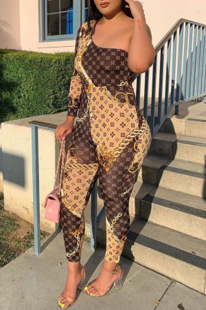 Brown Sexy Print Split Joint One Shoulder Skinny Jumpsuits