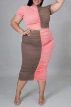 Pale Red Fashion Casual Patchwork Fold Half A Turtleneck Plus Size Two Pieces