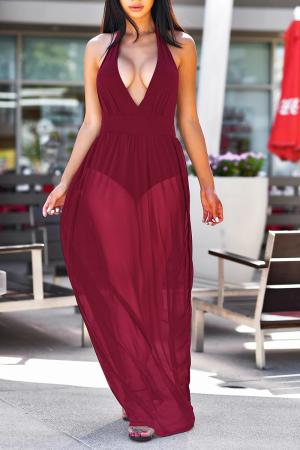 Burgundy Sexy Solid Mesh V Neck Mesh Dress Dresses