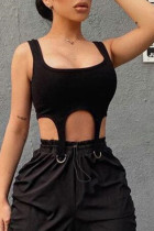 Black Sexy Solid Split Joint Metal Accessories Decoration Asymmetrical U Neck Tops