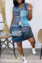 Blue Fashion Casual Print Basic V Neck Vest Dress