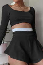 Black Casual Solid Split Joint Boat Neck Long Sleeve Two Pieces