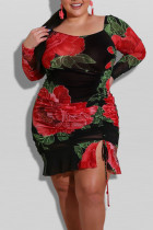 Red Casual Print Split Joint Draw String Boat Neck Straight Plus Size Dresses