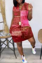 Red Fashion Casual Print Basic V Neck Vest Dress