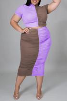 Purple Fashion Casual Patchwork Fold Half A Turtleneck Plus Size Two Pieces