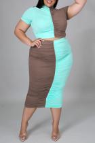 Blue Fashion Casual Patchwork Fold Half A Turtleneck Plus Size Two Pieces