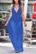 Blue Sexy Solid Mesh V Neck Mesh Dress Dresses