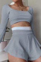 Grey Casual Solid Split Joint Boat Neck Long Sleeve Two Pieces