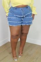 Blue Casual Solid Split Joint Plus Size Jeans