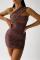 Nude Pink Sexy Leopard Split Joint One Shoulder Pencil Skirt Dresses
