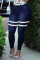 Deep Blue Fashion Casual Striped Basic Plus Size Jeans