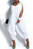 White Fashion Street Solid Split Joint V Neck Loose Jumpsuits