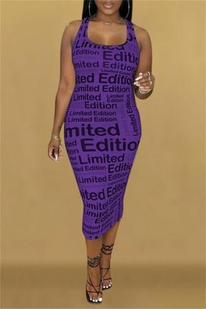 Purple Fashion Sexy Print Basic U Neck Sleeveless Dress