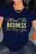 Navy Blue Fashion Casual Letter Print Basic O Neck T-Shirts