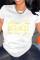 White Fashion Casual Letter Print Basic O Neck T-Shirts